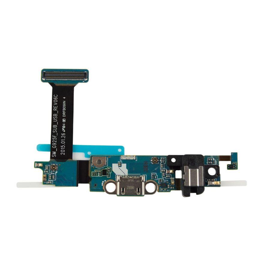 Шлейф с разъемом зарядки, разъемом наушников и нижней платой для Samsung Galaxy S6 Edge